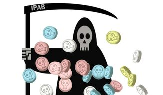 Illustration on the dangers to U.S. citizens from IPAB by Alexander Hunter/The Washington Times