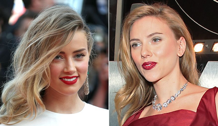 Actresses Amber Heard, left, and Scarlett Johansson.