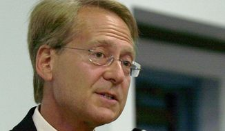 FILE - In this May 6, 2004 file photo, Larry Klayman speaks in Melbourne, Fla. Activist attorney Larry Klayman won the first round in December, when U.S. District Judge Richard Leon, a Republican appointee, ruled that the NSA's surveillance program likely runs afoul of the Constitution's ban on unreasonable searches. The government appealed.  (AP Photo/Peter Cosgrove, File)