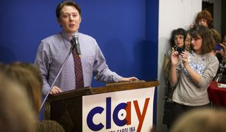 Clay Aiken, Democratic candidate for U.S. representative of North Carolina's 2nd Congressional District, gives his concession speech in Sanford, N.C. on Tuesday, Nov. 4, 2014 after losing to Republican incumbent Renee Ellmers. (AP Photo/The Fayetteville Observer, Abbi O'Leary)