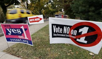 Signs outside a polling place support different opinions on an amendment to the Tennessee Constitution on Tuesday, Nov. 4, 2014, in Nashville, Tenn. The amendment would expand the power of legislators to pass more abortion regulations. (AP Photo/Mark Humphrey)
