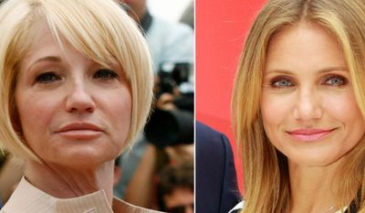 Actresses Ellen Barkin, left, and Cameron Diaz.