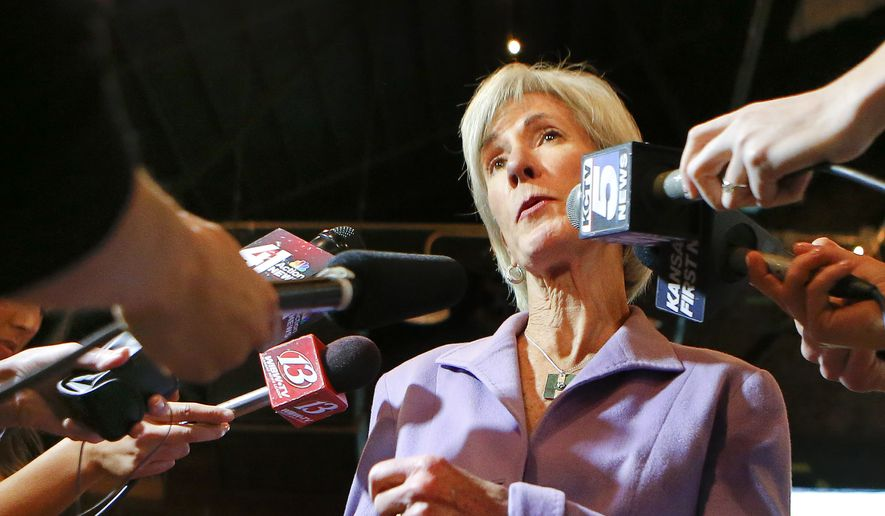 Former governor of Kansas Kathleen Sebelius addresses the media on Tuesday Nov. 4, 2014, during an election watch party for Democratic candidate Paul Davis in Lawrence, Kan. (AP Photo/The Topeka Capital Journal, Chris Neal)