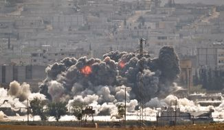 In this Oct. 28, 2014, file photo, smoke and flames rise from an Islamic State fighters' position in the town of Kobani during airstrikes by the U.S.-led coalition seen from the outskirts of Suruc, near the Turkey-Syria border. (AP Photo/Vadim Ghirda, File)