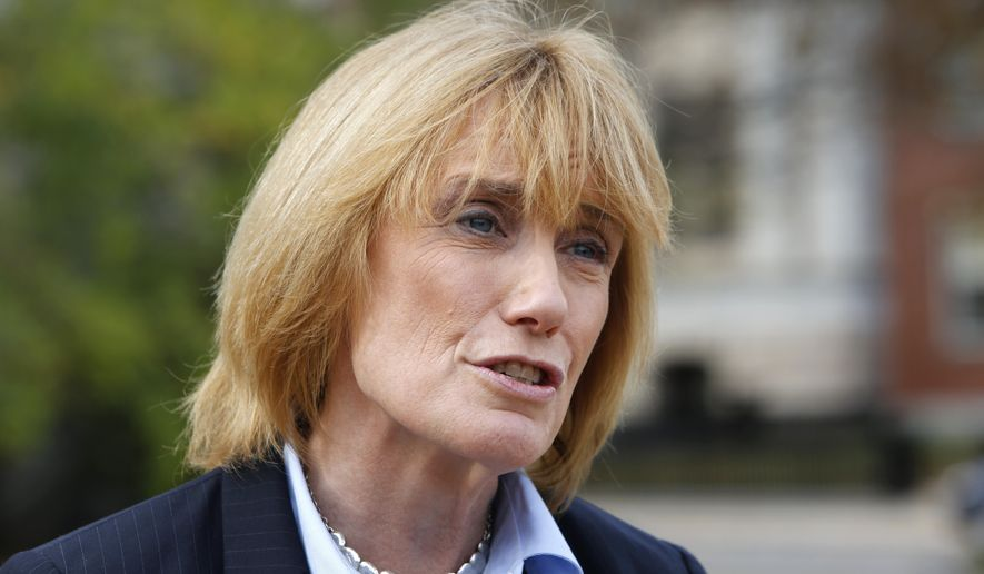 New Hampshire Gov. Maggie Hassan talks about her plans for the next legislative session during a press conference in front of the Statehouse, Wednesday Nov. 5, 2014, in Concord, N.H., after winning a second two-year term in office. Republicans kept control of the New Hampshire Senate and retook the House, meaning Hassan, a Democrat, could face roadblocks in her second term. (AP Photo/Jim Cole)