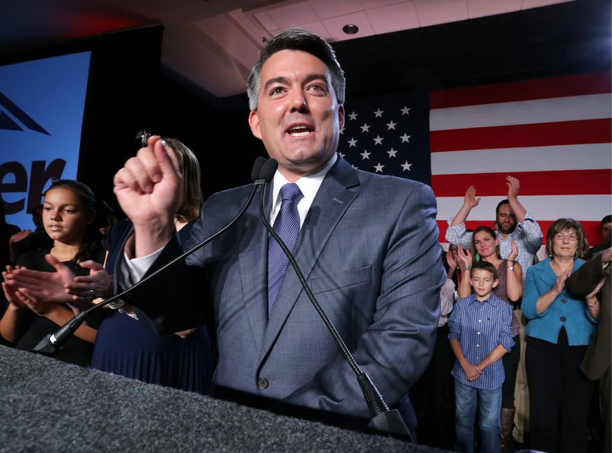 Senator-elect, U.S. Rep. Cory Gardner, (R-Colo.), delivers his victory speech to supporters during a  GOP election night gathering at the Hyatt Regency Denver Tech Center, in Denver, Colo., Tuesday Nov. 4, 2014. Gardner defeated his Democratic opponent, incumbent Sen. Mark Udall. (AP Photo/Brennan Linsley)