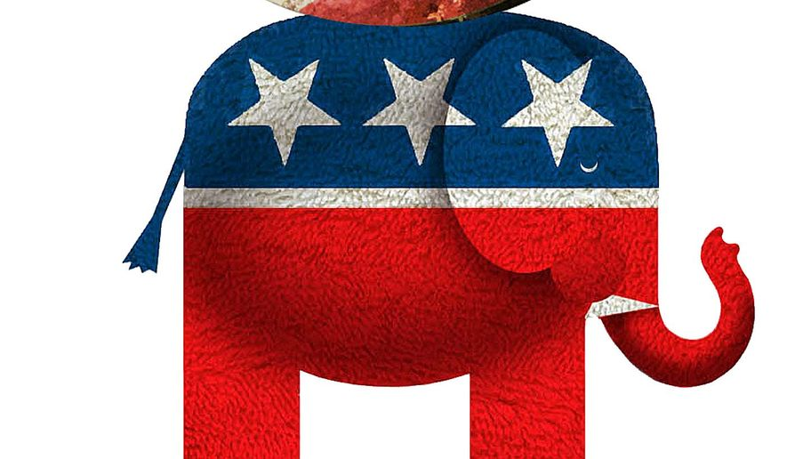 Illustration on fears that Republicans will not effectively confron the Obama agenda by Alexander Hunter/The Washington Times