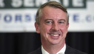 Virginia Republican Senate candidate Ed Gillespie told supporters the race was too close to call at his election night party in Springfield, Virginia. (Associated Press)