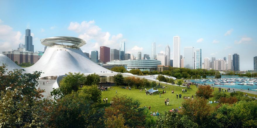 This architectural rendering provided by the Lucas Museum of Narrative Art shows the design of the planned Lucas Museum of Narrative Art along Chicago's lakefront. Beijing-based architect Ma Yansong visited Chicago to unveil drawings of the futuristic-looking structure and said that the museum financed by Star Wars director George Lucas is the most important project he's undertaken. (AP Photo/Courtesy of the Lucas Museum of Narrative Art)