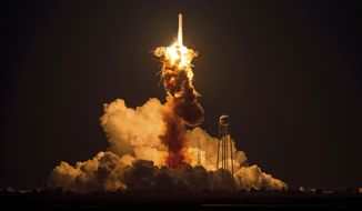 In this Tuesday, Oct. 28, 2014, file photo provided by NASA, the Orbital Sciences Corp. Antares rocket, with the Cygnus spacecraft onboard, explodes moments after launch from the Mid-Atlantic Regional Spaceport Pad 0A, at NASA's Wallops Flight Facility in Virginia. Orbital Sciences says it will likely stop using the type of engines that were employed when its unmanned Antares commercial supply rocket moments after liftoff last week. (AP Photo/NASA, Joel Kowsky, File)