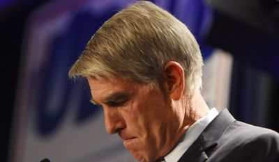 Sen. Mark Udall gives his concession speech at the Colorado Democrats' party at the Westin in Denver, Colo., Tuesday, Nov. 4, 2014. (AP Photo/The Colorado Springs Gazette, Jerilee Bennett) MAGAZINES OUT
