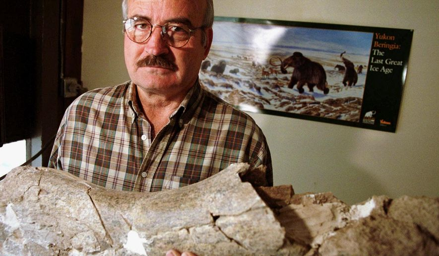 FILE - In this Sept. 15, 1999  file photo, shows geology professor Larry Agenbroad posing in his office with a fossilized mammoth femur at Northern Arizona University in Flagstaff, Ariz. A memorial service is scheduled in November 2014 for Agenbroad, the onetime director and principal investigator at The Mammoth Site in southwestern South Dakota, who died Friday, Oct. 31, 2014, at a Hot Springs, S.D., retirement home. He was 81. (AP Photo/Pete Scanlon, File)