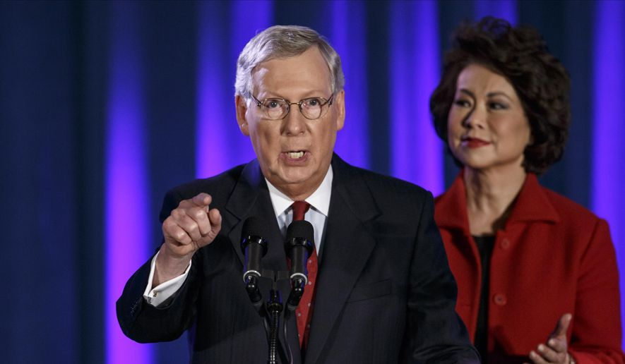 Senate Majority Leader Mitch McConnell and wife Elaine Chao.. (AP Photo/J. Scott Applewhite) ** FILE **