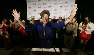 Sen.-elect Joni Ernst, Iowa Republican, speaks to supporters during an election night rally in West Des Moines, Iowa. Ms. Ernst defeated Democrat Bruce Braley in the race to replace retiring Sen. Tom Harkin. (Associated Press)