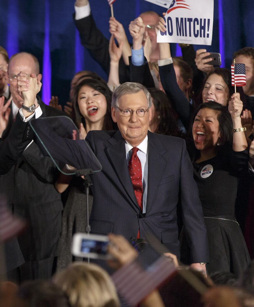 Senate Minority Leader Mitch McConnell, R-Ky., celebrates with his supporters at an election night party in Louisville, Ky.,Tuesday, Nov. 4, 2014. McConnell won a sixth term in Washington, with his eyes on the larger prize of GOP control of the Senate. The Kentucky U.S. Senate race, with McConnell, a 30-year incumbent, fighting off a spirited challenge from Democrat Alison Lundergan Grimes, has been among the most combative and closely watched contests that could determine the balance of power in Congress. (AP Photo/J. Scott Applewhite)