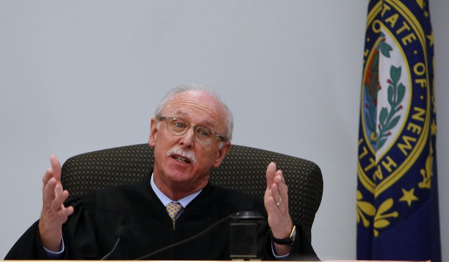 FILE In this Oct. 7, 2014 file photo Superior Court Judge David Garfunkel speaks during arguments in Carroll County Superior Court in Ossipee, N.H. over whether he had that authority to reduce the sentence of a man convicted of sexually assaulting a girl eight years ago. On Wednesday Nov. 5, 2014 Garfunkel ruled that he cannot amend the 7-1/2-year sentence he gave Joshua Baud of Wakefield in September. (AP Photo/Jim Cole, file)