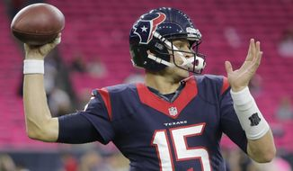 Houston Texans quarterback Ryan Mallett (15) warms up before an NFL football game Thursday, Oct. 9, 2014, in Houston. (AP Photo/Patric Schneider)