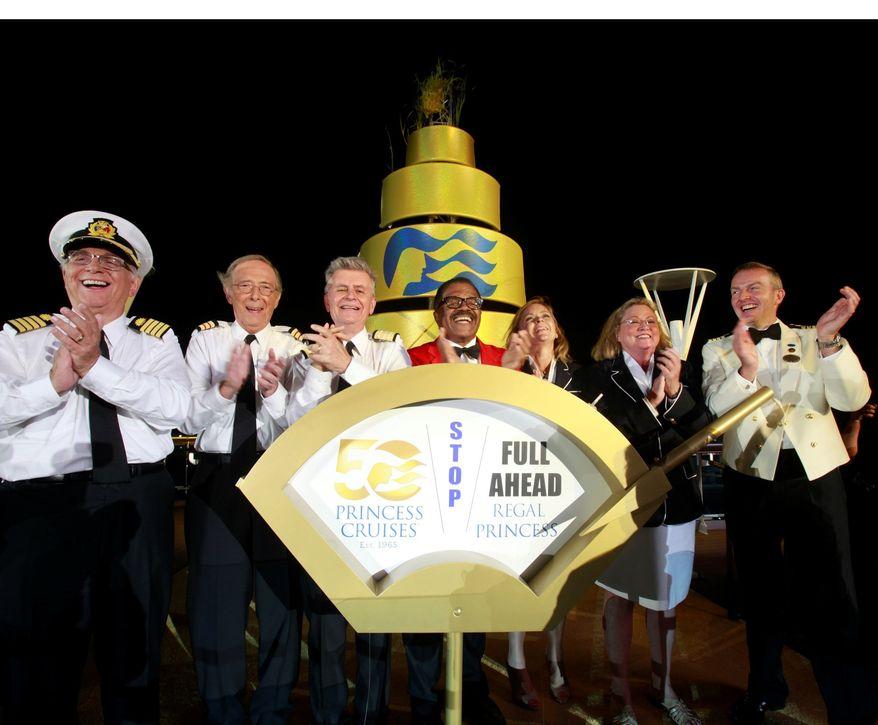 """The original cast of """"The Love Boat"""" christens Princess Cruises' newest ship, Regal Princess. (PRNewsFoto/Princess Cruises)"""