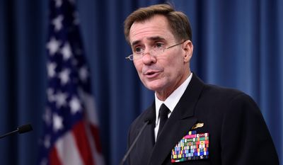 Pentagon spokesman Rear Adm. John Kirby declined to comment on a review to be released by the Pentagon that cites serious problems of U.S. nuclear capabilities.  (AP Photo/Susan Walsh) ** FILE **