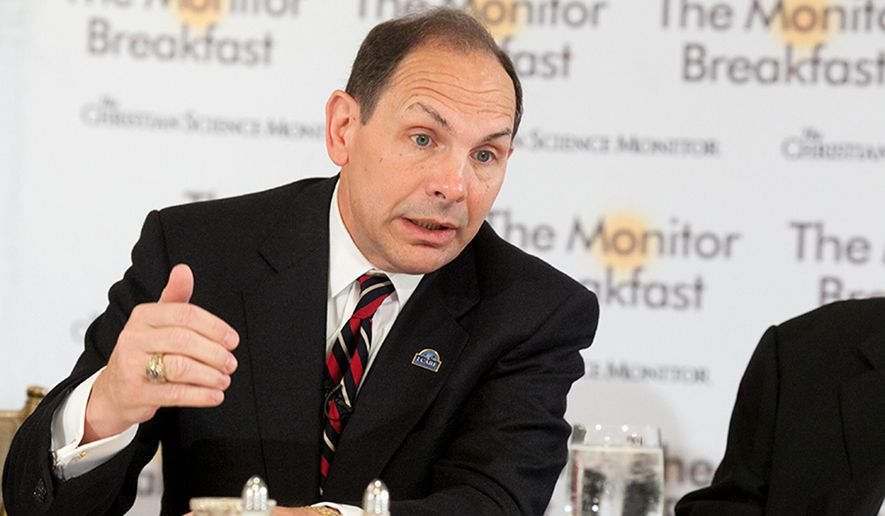 """Veterans Affairs Secretary Robert McDonald speaks at a media breakfast hosted by The Christian Science Monitor, Thursday, Nov. 6, 2014, in Washington. The Veterans Affairs Department says wait times for veterans seeking health care have been reduced by 18 percent since May as efforts to reform the troubled agency continue. Meanwhile, tens of thousands of veterans who live more than 40 miles from a VA facility are getting """"choice cards"""" allowing them to see local doctors _ a key component of a new law intended to reduce wait times for veteran. McDonald announced the changes Thursday as he marked 100 days on office _ just in time for Veterans Day. McDonald also fired back at critics who say the VA is moving to fire managers accused of covering up health care delays for veterans.  (AP Photo/Michael Bonfigli, The Christian Science Monitor)"""