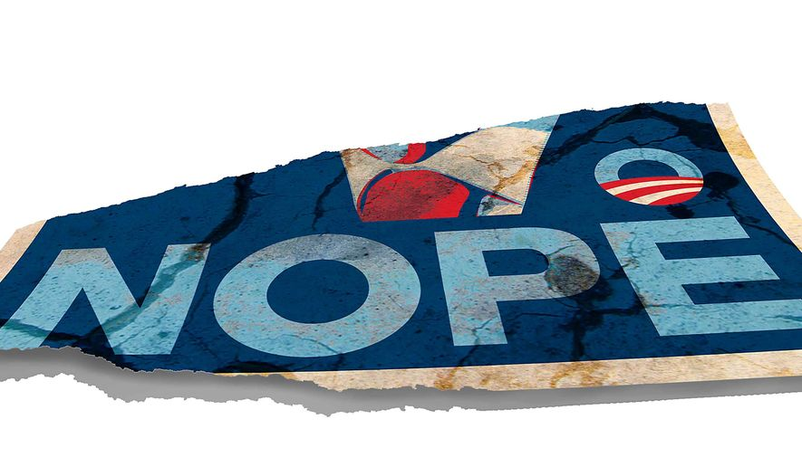 Torn Obama Poster Illustration by Greg Groesch/The Washington Times