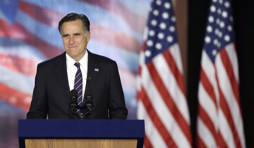 Former Massachusetts Gov. Mitt Romney pauses as he addresses supporters during his Election Night rally in this Wednesday, Nov. 7, 2012, file photo, in Boston. (AP Photo/Elise Amendola) ** FILE **