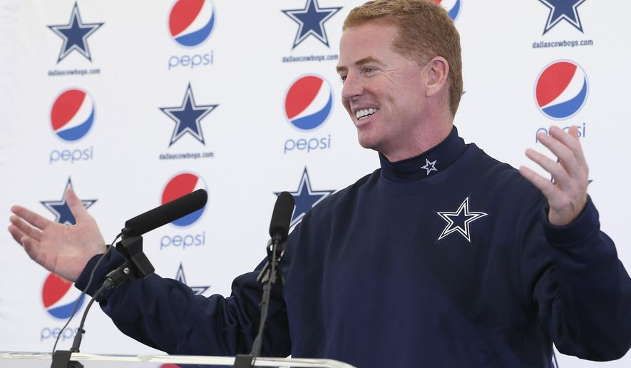 In this provided by NFL UK,  Dallas Cowboys Head Coach Jason Garrett speaks at a press conference in London while attending a practice session Wednesday Nov. 5, 2014. The Dallas Cowboys are due to play the the Jacksonville Jaguars  at Wembley stadium in London on Sunday in a regular season NFL game. (AP Photo/Dave Shopland, NFL UK)