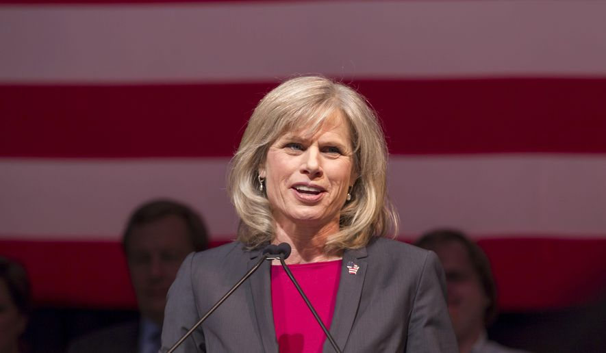 Democratic gubernatorial candidate  Mary Burke makes her concession speech after losing to Republican Wisconsin Gov. Scott Walker Tuesday, Nov. 4, 2014, in Madison, Wis. (AP Photo/Andy Manis)