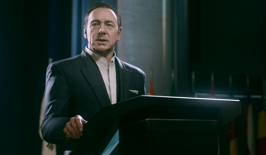 """This video game image released by Activision shows an animated Kevin Spacey in a scene from """"Call of Duty: Advanced Warfare."""" (AP Photo/Activision)"""