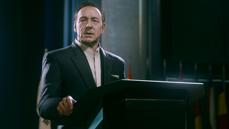 "This video game image released by Activision shows an animated Kevin Spacey in a scene from ""Call of Duty: Advanced Warfare."" (AP Photo/Activision)"