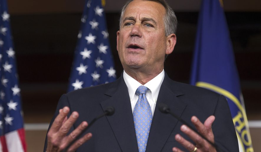 House Speaker John Boehner of Ohio gestures during a news conference on Capitol Hill in Washington, Thursday, Nov. 6, 2014. Boehner said the Republican-controlled Congress will act to approve the Keystone XL pipeline, make changes in the health care law and encourage businesses to hire more veterans. (AP Photo/Cliff Owen) **FILE**