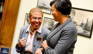 Washington, D.C. Mayor Elect Muriel Bowser meets with Rep. Eleanor Holmes Norton (D-D.C.) at her office on Capitol Hill, Washington, D.C., Thursday, November 6, 2014. (Andrew Harnik/The Washington Times)