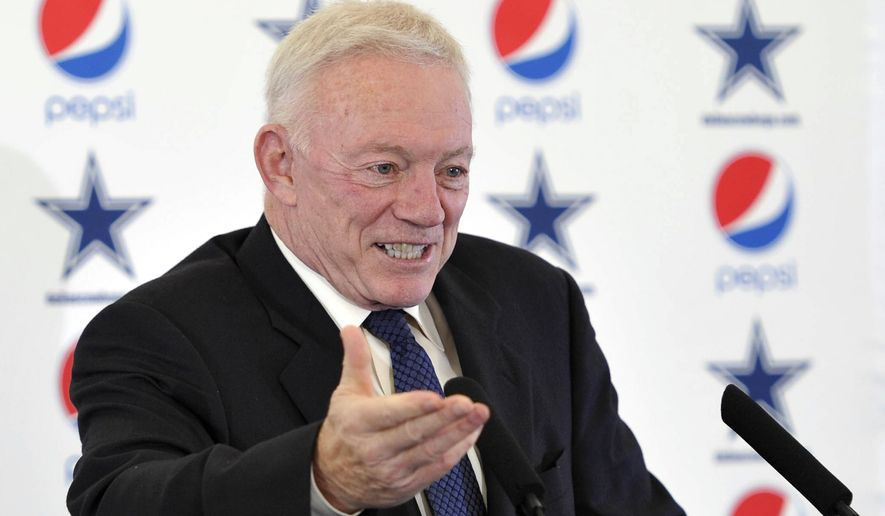 Owner of the Dallas Cowboys Jerry Jones attends a press conference after a team training session in London, Thursday Nov. 6, 2014. The Dallas Cowboys will play the Jacksonville Jaguars in an NFL football game at Wembley Stadium on Sunday Nov. 9. (AP Photo/NFL UK, Sean Ryan)