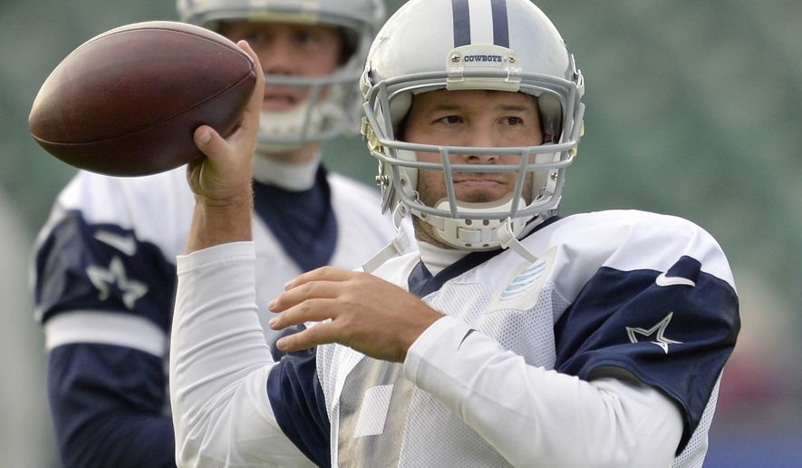 Dallas Cowboys quarterback Tony Romo prepares to throw a ball during a practice session in London, Thursday Nov. 6, 2014. The Dallas Cowboys will play the Jacksonville Jaguars in an NFL football game at Wembley Stadium on Sunday Nov. 9. (AP Photo/NFL UK, Sean Ryan)