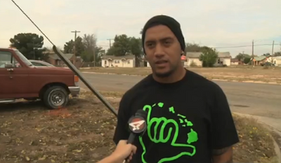 Defensive lineman Chevy Mikaele (pictured) and outside linebacker Ben Langford for Eastern New Mexico University are being hailed as heroes after lifting a truck weighing nearly three tons off a man who was being crushed underneath. (KOB 4)