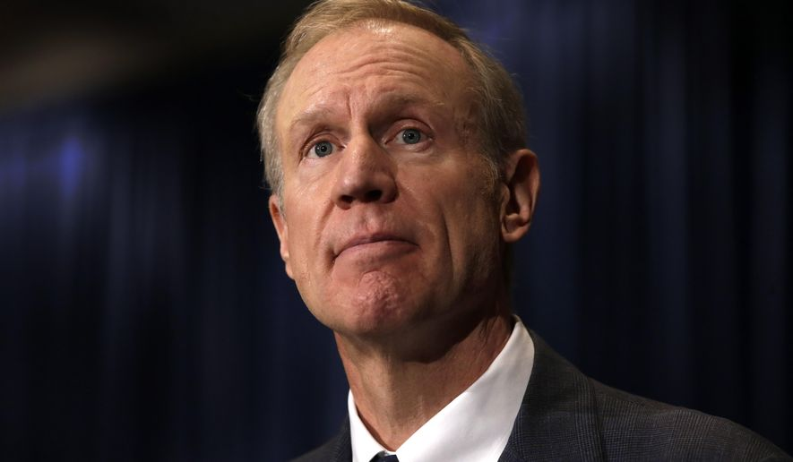 Illinois governor-elect Bruce Rauner listens to a reporter's question during a news conference where he introduced appointments to his transition team and talked about many issues facing the state. Thursday, Nov. 6, 2014, in Chicago. (AP Photo/Charles Rex Arbogast)