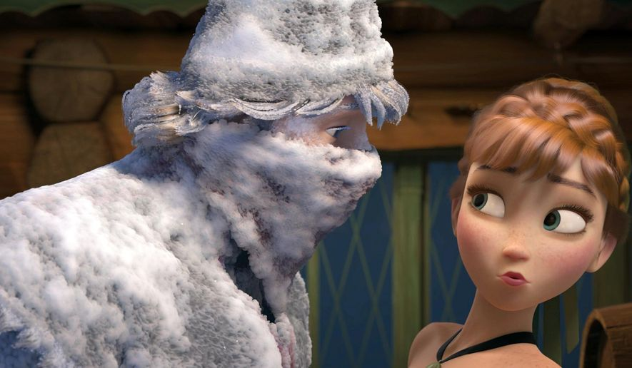 """FILE - This file image released by Disney shows Kristoff, voiced by Jonathan Groff, left, and Anna, voiced by Kristen Bell, in a scene from the animated feature film, """"Frozen.""""  Disney reports quarterly financial results on Thursday, Nov. 6, 2014. (AP Photo/Disney, File)"""