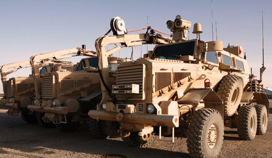 Buffalo mine-protected clearance vehicles. (U.S. Marine Corps)