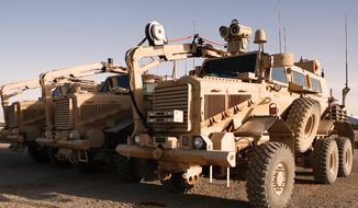 Buffalo mine-protected clearance vehicles. (U.S. Marine Corps)