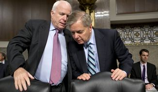 "The Republican takeover of the Senate may pave the way for Sen. John McCain (left) and other GOP foreign policy hawks like Sen. Lindsey Graham to try to play ""back-seat driver"" to the White House, but at the end of the day, ""if the president doesn't want to do what they push for, that's entirely up to him,"" said one senior congressional aide. (Associated Press)"