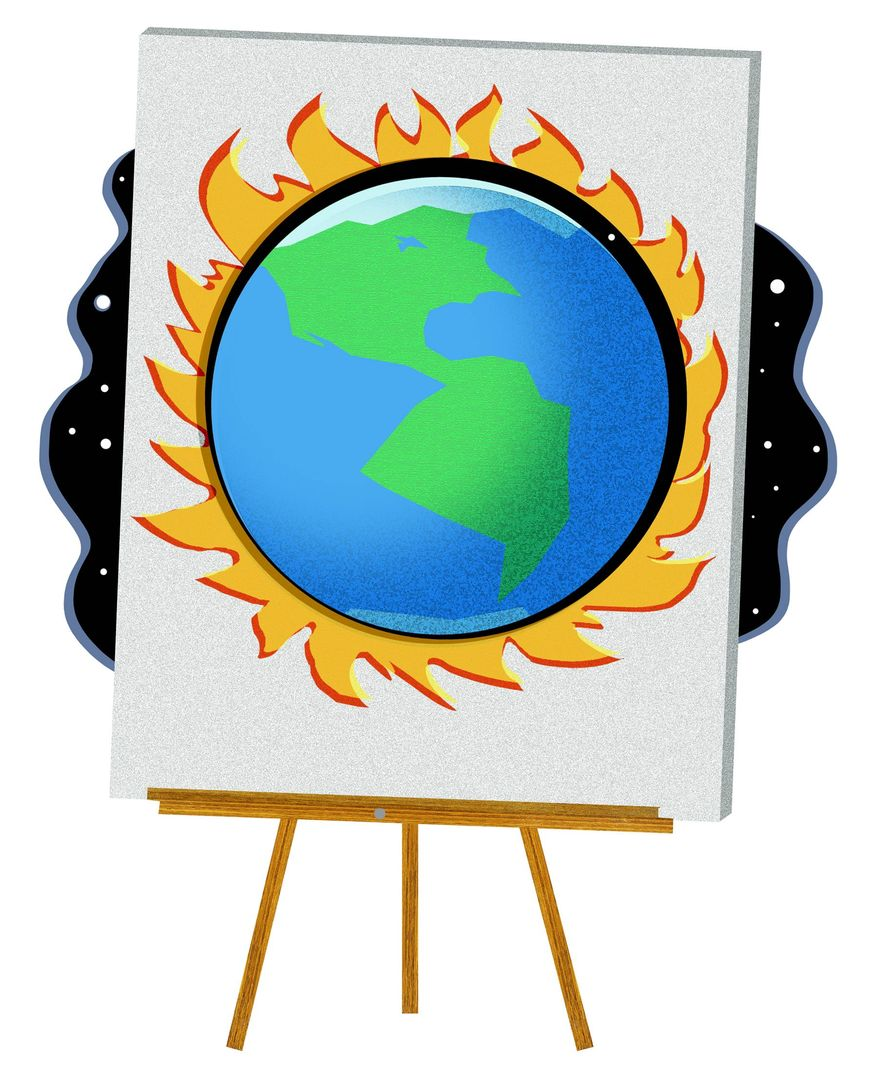Illustration on the media's unquestioning promotion of the theory of man-made global warming by Alexander Hunter/The Washington Times