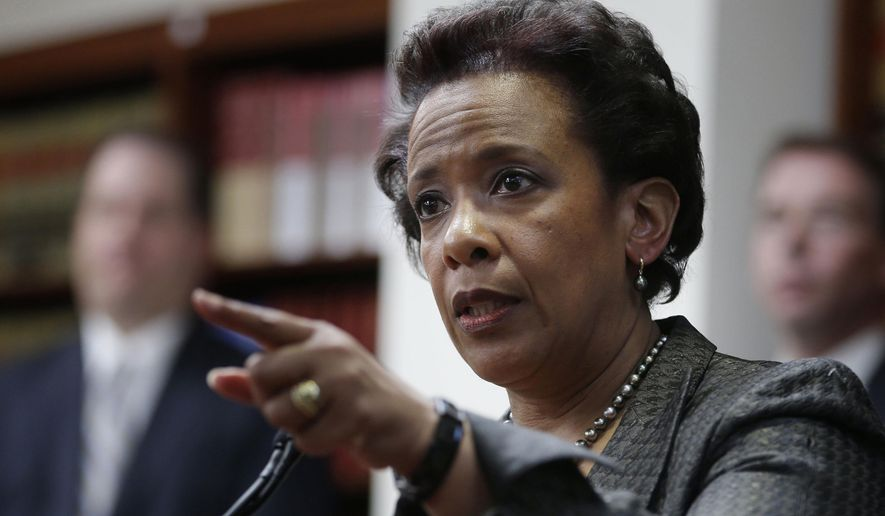 In this April 28, 2014 file photo, Loretta Lynch, U.S. Attorney for the Eastern District of New York, speaks during a news conference in New York. Ms. Lynch is President Obama's choice to succeed Eric Holder as U.S. Attorney General. (AP Photo/Seth Wenig, File)