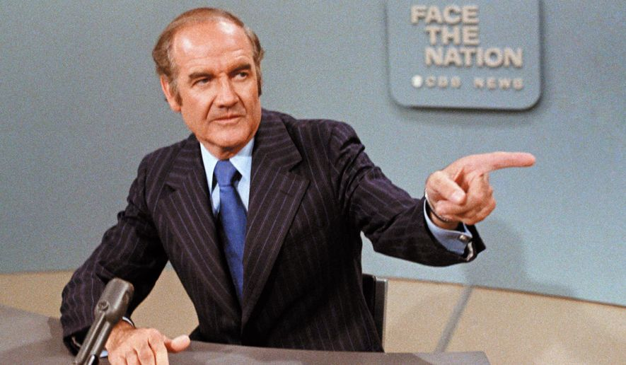 """FILE - In this May 28, 1972 file photo, U.S. Sen. George McGovern, D-S.D., appears on TV 's """"Face the Nation."""" The Sunday morning public affairs show """"Face the Nation"""" celebrates 60 years of broadcasts this week, making it the second longest-running television program on the air. (AP Photo/Jeff Robbins, File)"""