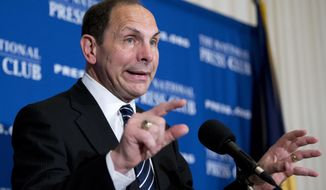 Veterans Affairs Secretary Robert McDonald speaks about his efforts to improve services  veterans, Friday, Nov. 7, 2014, during a news conference at the National Press Club in Washington.   (AP Photo/Manuel Balce Ceneta)