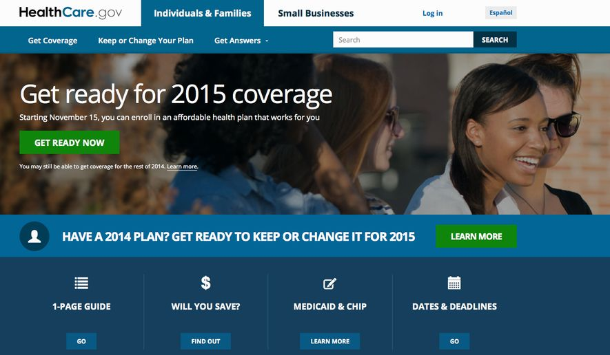 "This screen shot made Wednesday, Oct. 15, 2014 shows the home page of HealthCare,gov, a federal government website managed by the U.S. Centers for Medicare & Medicaid Service. The Obama administration says starting this weekend, consumers can get an early peek at 2015 premiums and plans under the president's health law. Open enrollment starts Nov. 15, a week from Saturday. But Lori Lodes, spokeswoman for HealthCare.gov, said Friday that consumers will be able to ""window shop"" for plans before then. (AP Photo)"