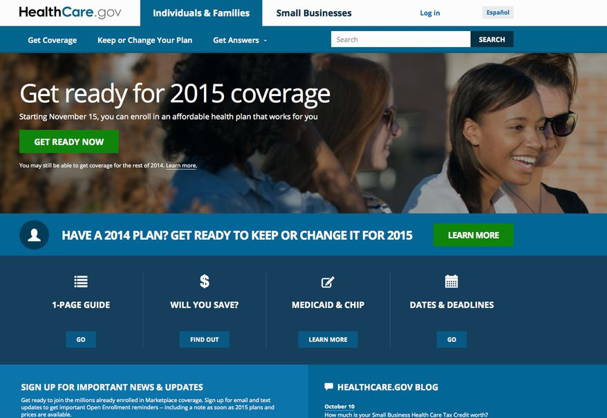 """This screen shot made Wednesday, Oct. 15, 2014 shows the home page of HealthCare,gov, a federal government website managed by the U.S. Centers for Medicare & Medicaid Service. The Obama administration says starting this weekend, consumers can get an early peek at 2015 premiums and plans under the president's health law. Open enrollment starts Nov. 15, a week from Saturday. But Lori Lodes, spokeswoman for HealthCare.gov, said Friday that consumers will be able to """"window shop"""" for plans before then. (AP Photo)"""