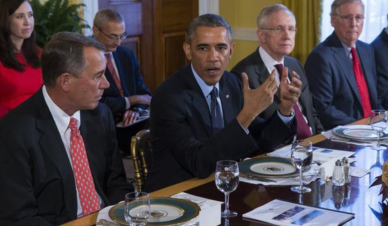 President Barack Obama meets with Congressional leaders in the Old Family Dining Room of the White House in Washington, Friday, Nov. 7, 2014. From left are, House Speaker John Boehner of Ohio, Obama, Senate Majority Leader Harry Reid of Nev., and Senate Minority Leader Mitch McConnell of Ky. (AP Photo/Evan Vucci) **FILE**