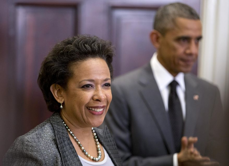 President Obama listens at right as U.S. Attorney Loretta Lynch speaks Nov. 8, 2014, in the Roosevelt Room of the White House in Washington, where the president announced he would nominate Lynch to replace Attorney General Eric Holder. (Associated Press) **FILE**