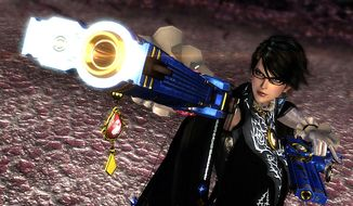 A stylish witch packing heat returns in the Wii U videoo game Bayonetta 2.