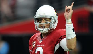 Arizona Cardinals quarterback (3) Carson Palmer in action during a game against the Philadelphia Eagles played at University of Phoenix Stadium in Glendale, Ariz. on Sunday, Oct. 26, 2014. (AP Photo/John Cordes)